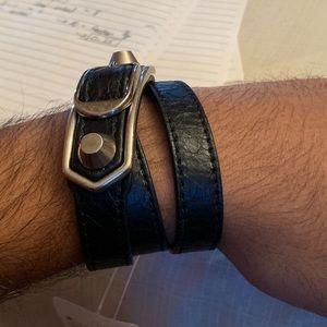 BALENCIAGA double wrap metallic edge noir bracelet